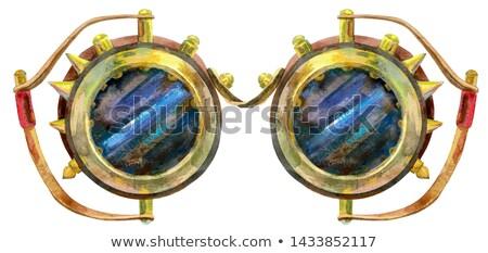 Akwarela metaliczny steampunk okulary odizolowany starych Zdjęcia stock © Natalia_1947