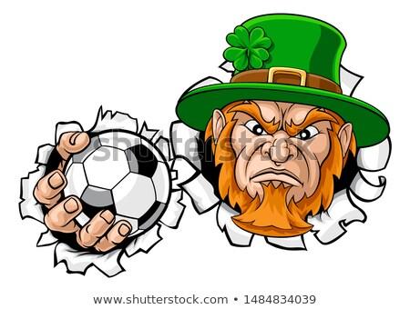 Leprechaun Soccer Mascot Ripping Background Stock photo © Krisdog