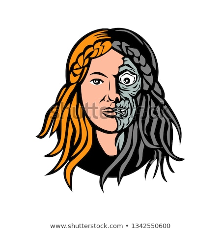 Godin dood hoofd retro mascotte icon Stockfoto © patrimonio
