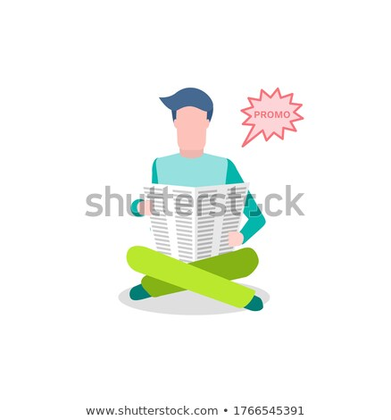 Newspaper and Reader Reading News from Paper Promo Stock photo © robuart