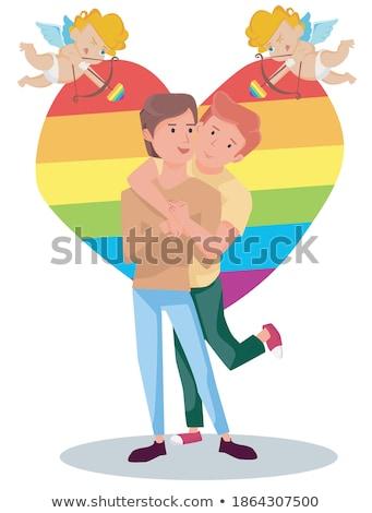 гей пару любви Поп-арт ретро рисунок Сток-фото © studiostoks