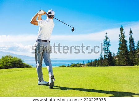 Golf player teeing off Stock photo © lichtmeister