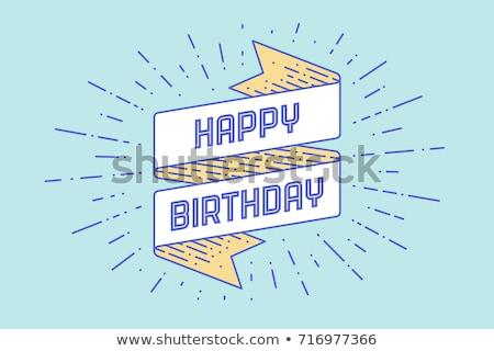 Feliz aniversário cartão bandeira desenho linha estilo Foto stock © FoxysGraphic