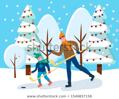 People Playing Hockey near Snowy Fir-tree Vector Stock photo © robuart