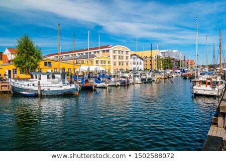 Boats on the channel at Christianshavn in Copenhagen, Denmark Stock photo © boggy