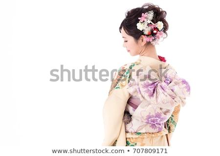 Kép gyönyörű fiatal gésa nő hagyományos Stock fotó © deandrobot