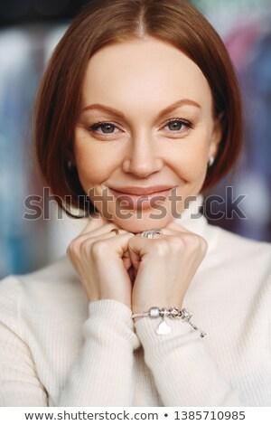 Függőleges lövés kellemes néz hölgy barna haj Stock fotó © vkstudio
