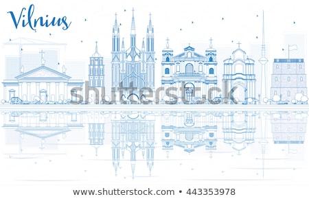 Skicc Vilnius sziluett kék tükröződések üzleti út Stock fotó © ShustrikS