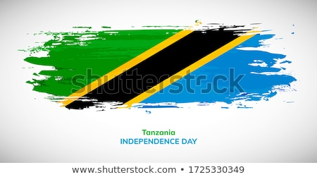 Tanzânia bandeira branco fundo assinar onda Foto stock © butenkow