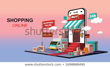 online shopping logistic truck delivery gift Stock photo © yupiramos