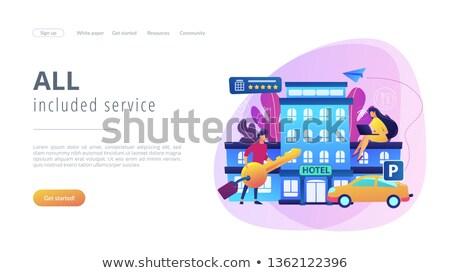 Hotel landing pagina zakenlieden alle diensten Stockfoto © RAStudio
