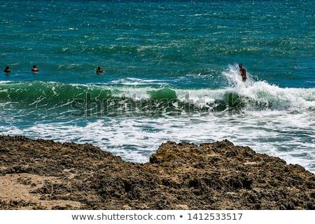 Zeegezicht golf voorgrond Blauw witte Stockfoto © vapi