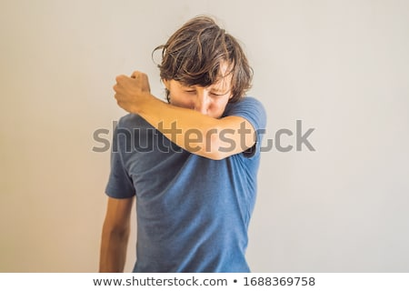 Comparison between wrong and right way to sneeze to prevent virus infection. Caucasian man sneezing, Stock photo © galitskaya