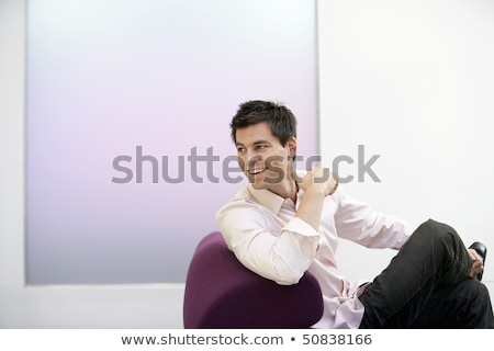 Foto stock: Empresário · olhando · fora · sofá · branco · retrato