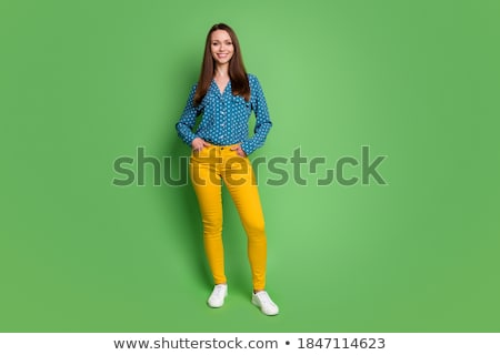 Full Length Slender Smiling Caucasian Woman Working Out Hand Wei Stock photo © Qingwa
