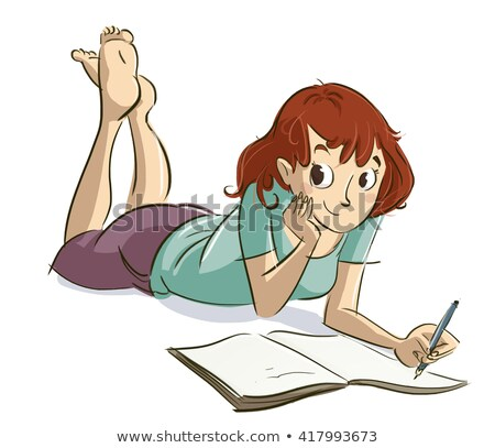 Smiling young girl lying and writing in notebook stock photo © get4net