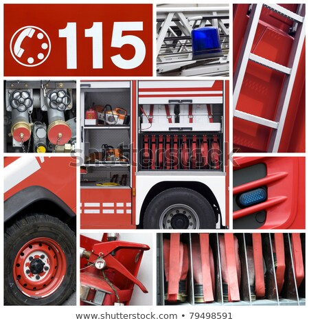 Montage pompier main nuit sécurité flammes Photo stock © photography33