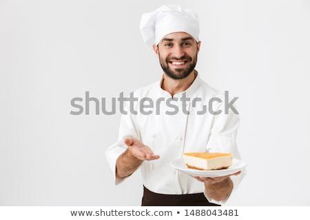 fiatal · szakács · darab · torta · csokoládé · mártás - stock fotó © vladacanon