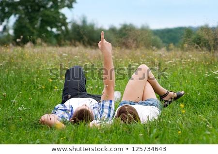 Pareja · hierba · junto · familia · amor · naturaleza - foto stock © photography33