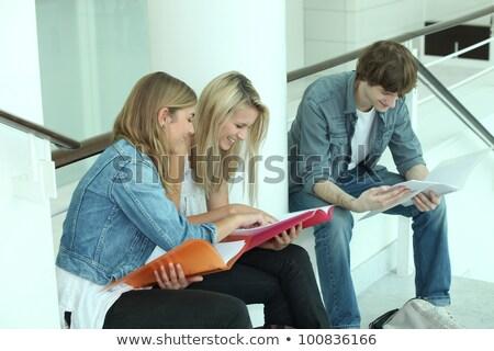 Stock foto: Three Teenagers Revising