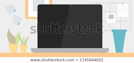 lupa · laptop · branco · tela · computador · caderno - foto stock © ozaiachin