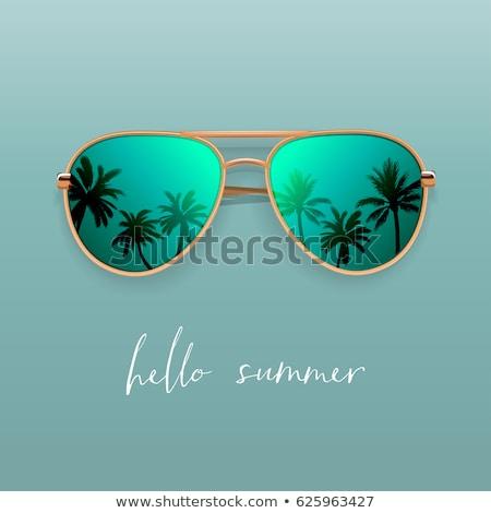 Stock photo: Mirrored Aviator Sunglasses Isolated On White