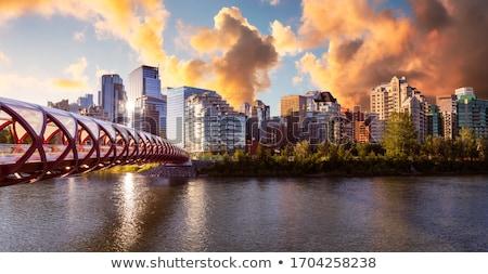 Calgary · béke · híd · gyalogos · íj · folyó - stock fotó © jewhyte