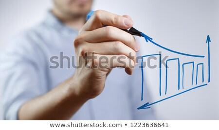 winst · Blauw · fiche · hand · schrijven · transparant - stockfoto © ivelin