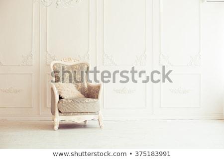 vintage · lujo · sillón · teléfono · blanco · habitación - foto stock © tungphoto