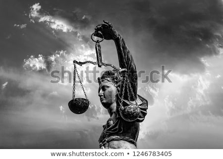 statue of lady justice in front of the romer in frankfurt stock photo © meinzahn
