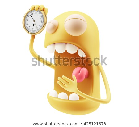 Emoticon klok 3d render Rood geluk banden Stockfoto © mariephoto