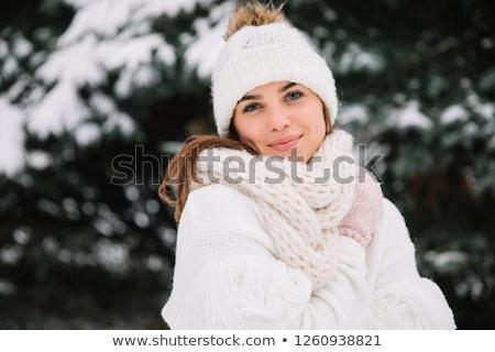hölgy · gyártmány · vicces · arc · fehér · portré · fiatal - stock fotó © dave_pot