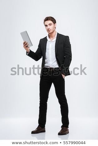 portret · zakenman · zwart · pak · groot - stockfoto © deandrobot
