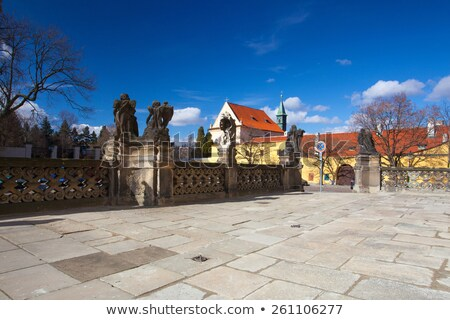 Cobblestone square in front of Loreta and Capuchin monastery - H Stock photo © CaptureLight