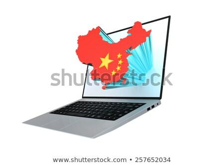 laptop · mapa · China · chinês · bandeira · moderno - foto stock © hd_premium_shots