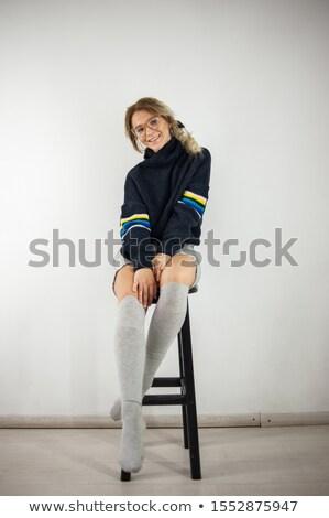Zakenvrouw rok blouse jas vergadering stoel Stockfoto © cherezoff