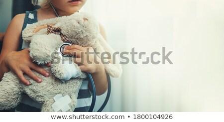 Bunny meisje banner roze witte gestreept Stockfoto © gabor_galovtsik