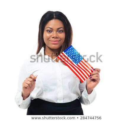 Stockfoto: Glimlachend · jonge · zakenvrouw · vlag · grijs