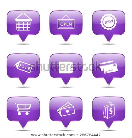 Shopping · signe · violette · vecteur · bouton · icône - photo stock © rizwanali3d