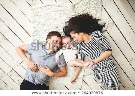 Stok fotoğraf: Aile · bebek · sevmek · güzellik · anne · mavi