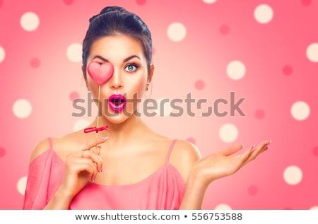 gyönyörű · nő · valentin · nap · mutat · piros · szívek · szexi - stock fotó © gabor_galovtsik