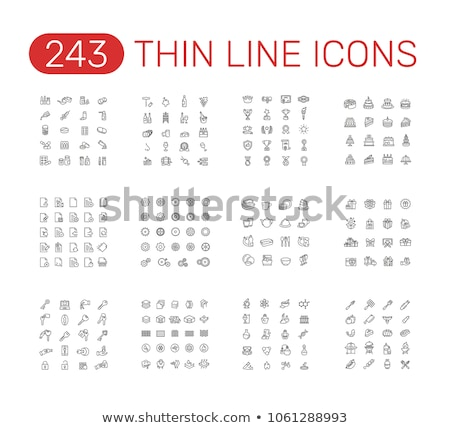 Plate of pills line icon. Stock photo © RAStudio