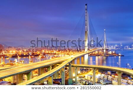 Boats In Hong Kong Harbor And Stonecutters Bridge Stok fotoğraf © cozyta