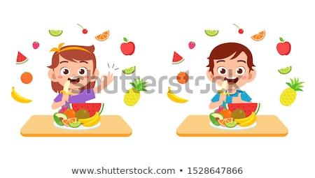 bambino · mangiare · fresche · frutta · arancione · natura · home - foto d'archivio © zurijeta