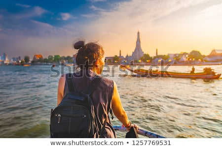 view on bangkok from boat on river stock photo © mikko