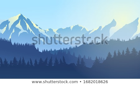 Erdő jelenet fák hegyek illusztráció tájkép Stock fotó © bluering