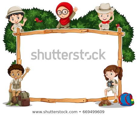 Banner design with girls in safari outfit Stock photo © bluering