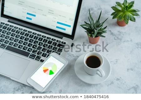 ストックフォト: ノートパソコンのキーボード · コーヒー · 眼鏡 · 表示 · 眼鏡 · 木製