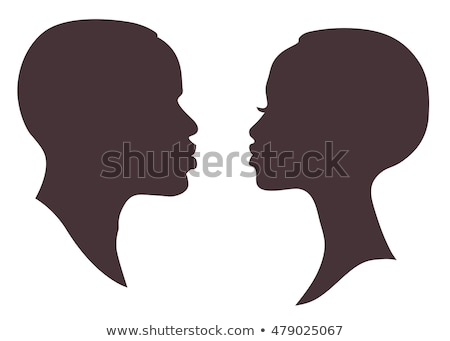 african man face silhouette isolated on white stock photo © essl