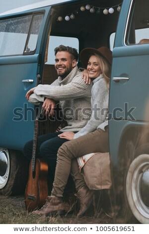 Férfi másfelé néz ül furgon boldog fiatalember Stock fotó © wavebreak_media